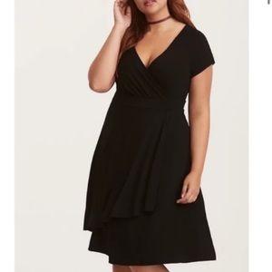 Torrid Black Jersey Faux Wrap Dress 4X